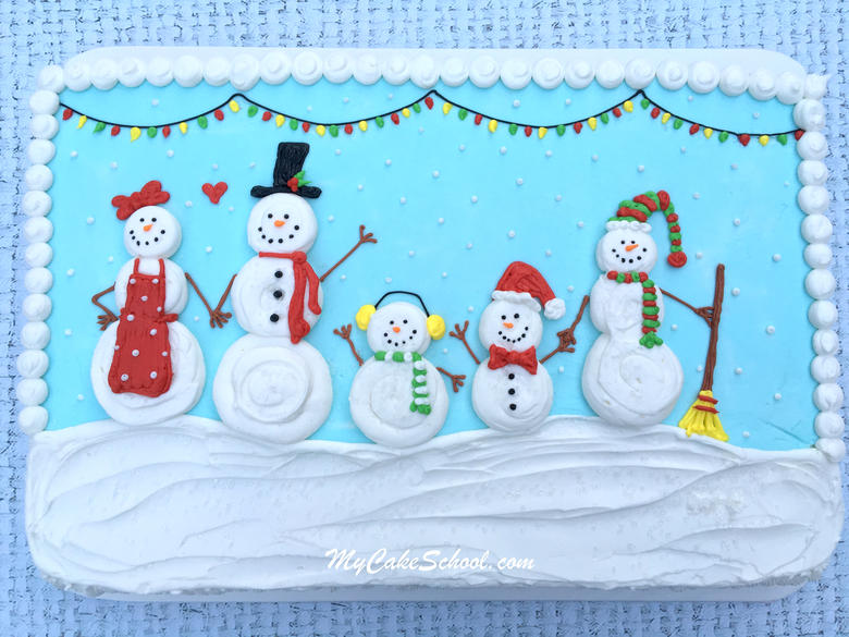 Sweet Snow Family Cake Decorating Video by MyCakeSchool.com!