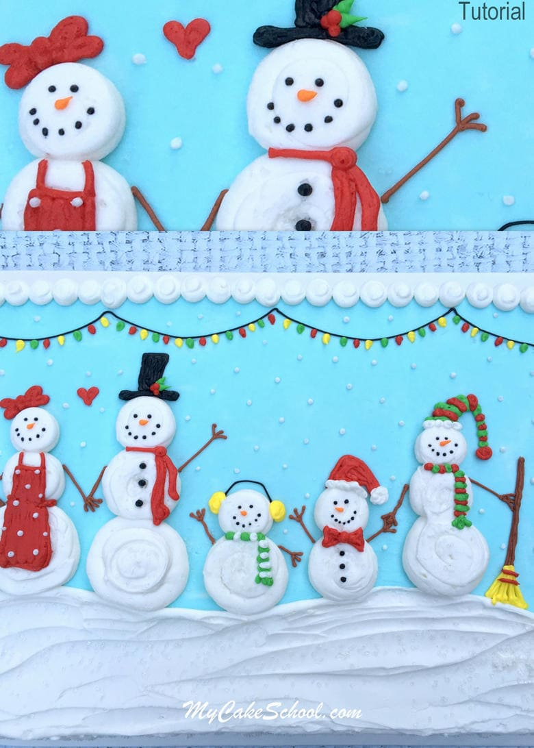 Sweet Snow Family! Free Cake Decorating Video by My Cake School!