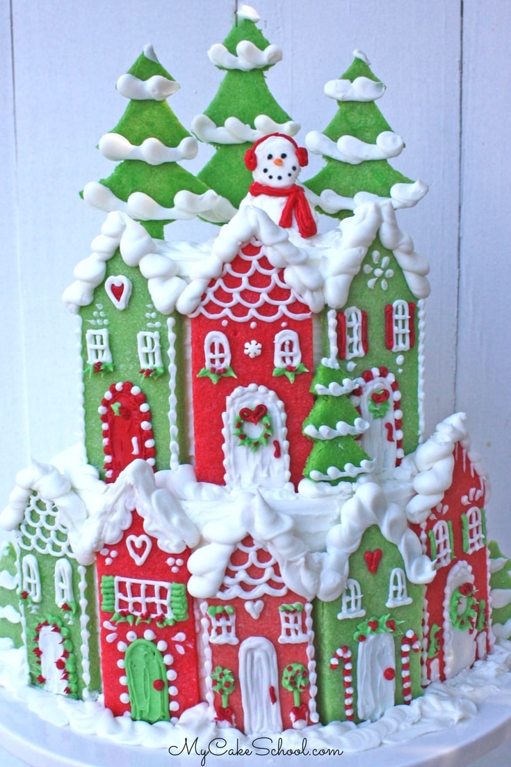 Adorable Christmas Village Cake Tutorial by MyCakeSchool.com! Member Cake Video Section.
