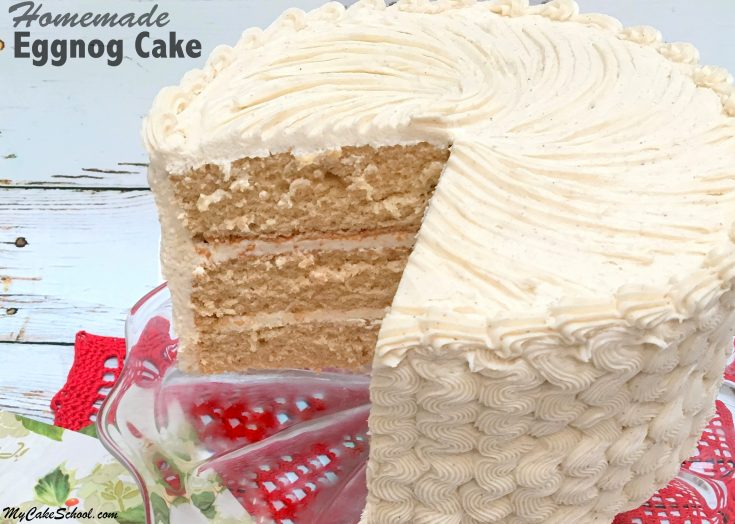 The BEST Eggnog Cake Recipe with Eggnog Buttercream! So moist, flavorful, and perfect for holiday entertaining! MyCakeSchool.com