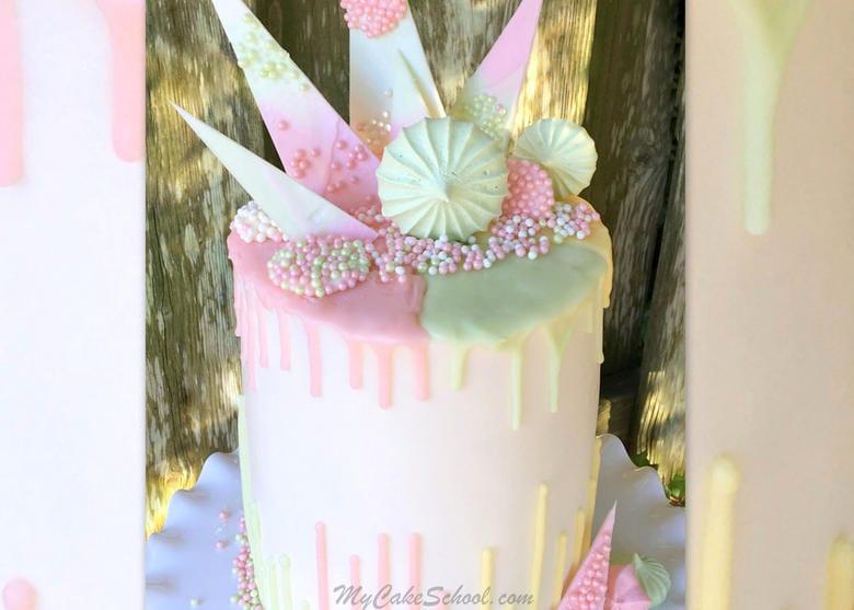 Beautiful Pastel Drip and Reverse Drip Cake Tutorial by MyCakeSchool.com!