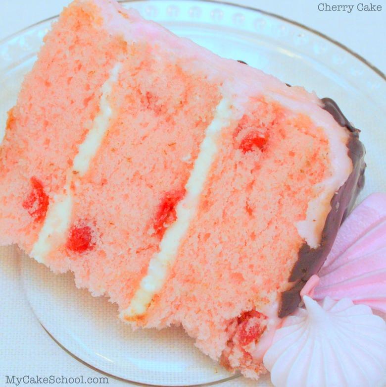 The most DELICIOUS scratch Cherry Cake Recipe by MyCakeSchool.com! Online Cake Decorating Tutorials & Recipes!