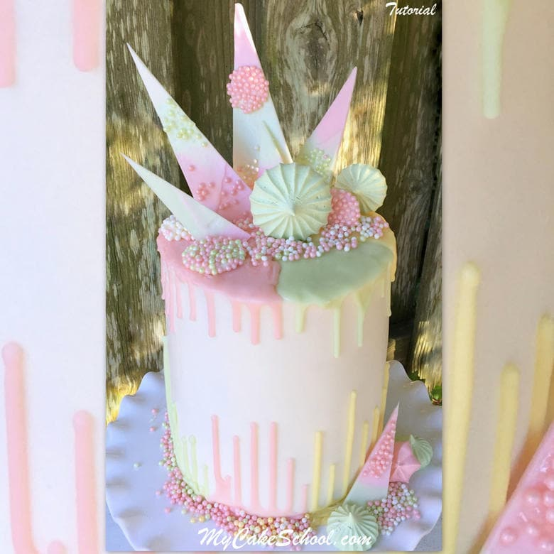 Beautiful Pastel Drip Cake decorated with meringues and chocolate shards!
