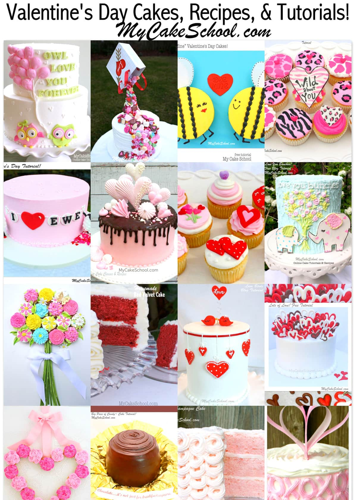 Roundup of the BEST Valentine's Day Cakes, Tutorials, Recipes, and Ideas!