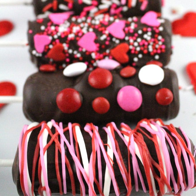 Chocolate Dipped Marshmallow Wands for Valentine's Day by Two Sisters Crafting (as featured in MyCakeSchool.com's Roundup of Valentine's Day Ideas!)