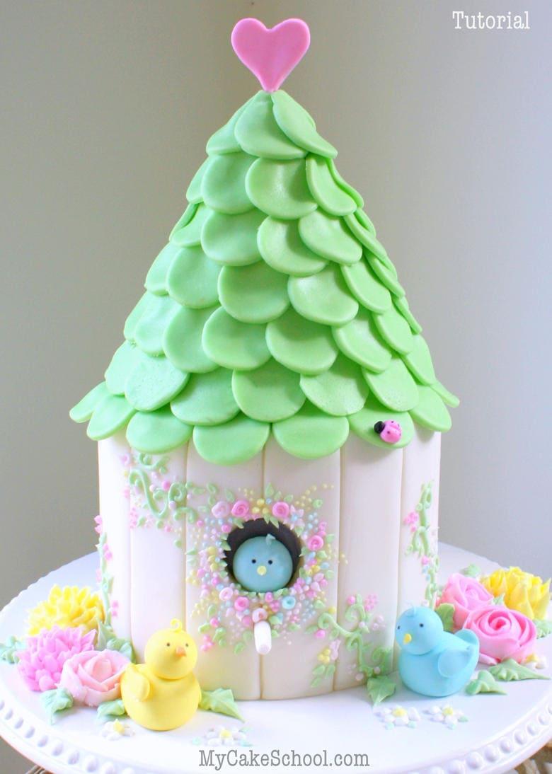 How to Make a Birdhouse Cake! My Cake School Tutorial | My ...