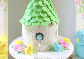 Adorable Birdhouse Cake! A tutorial by MyCakeSchool.com!