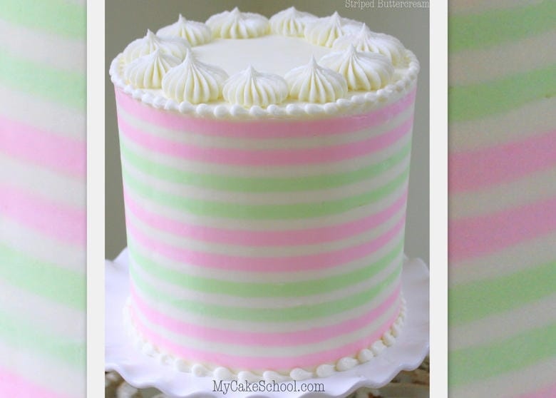 Learn to make beautiful buttercream stripes on cakes in this MyCakeSchool.com online cake decorating video!
