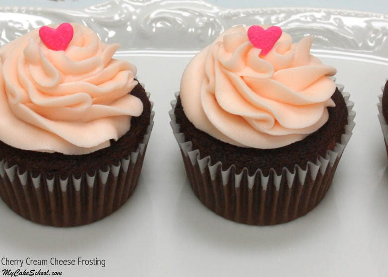 Amazing Cherry Cream Cheese Frosting Recipe by MyCakeSchool.com! We love it with cherry cakes and chocolate cakes! YUM!