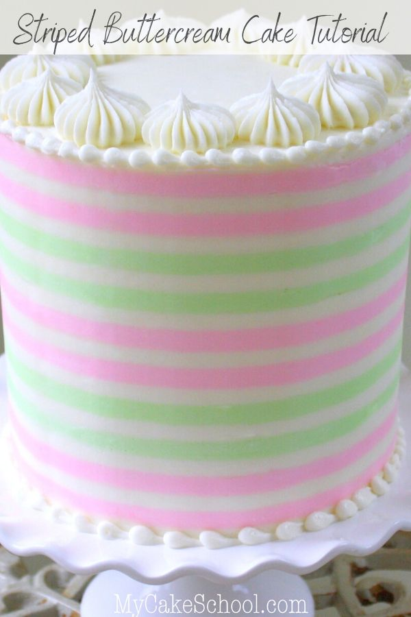 Learn How to Make Buttercream Stripes in this Free Cake Decorating Tutorial!
