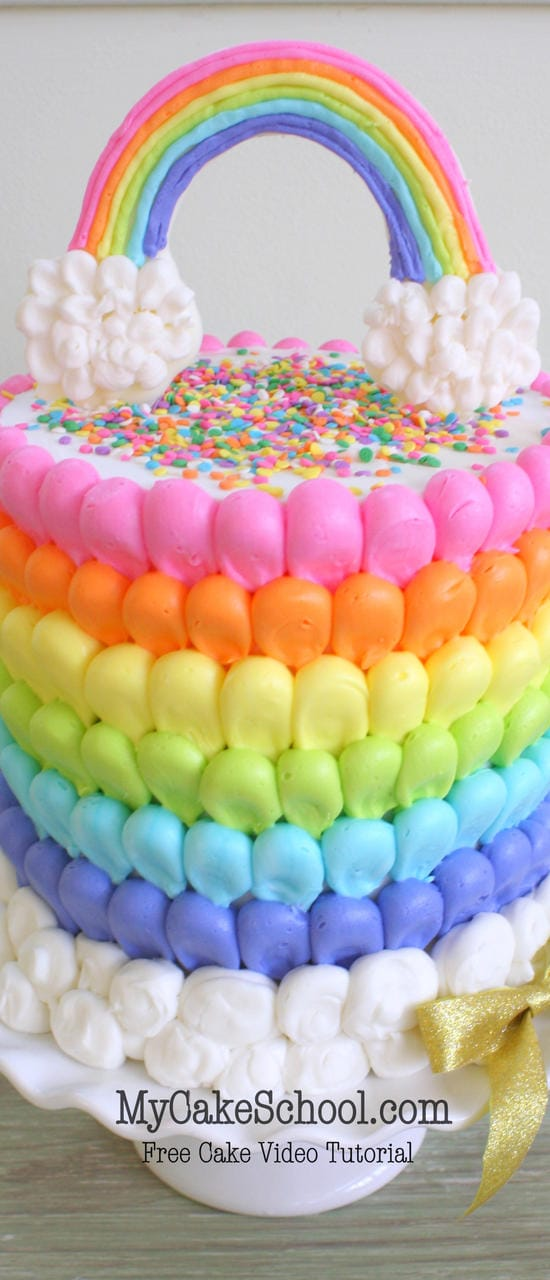 Puffed rainbow cake free cake decorating video my for Abc cake decoration
