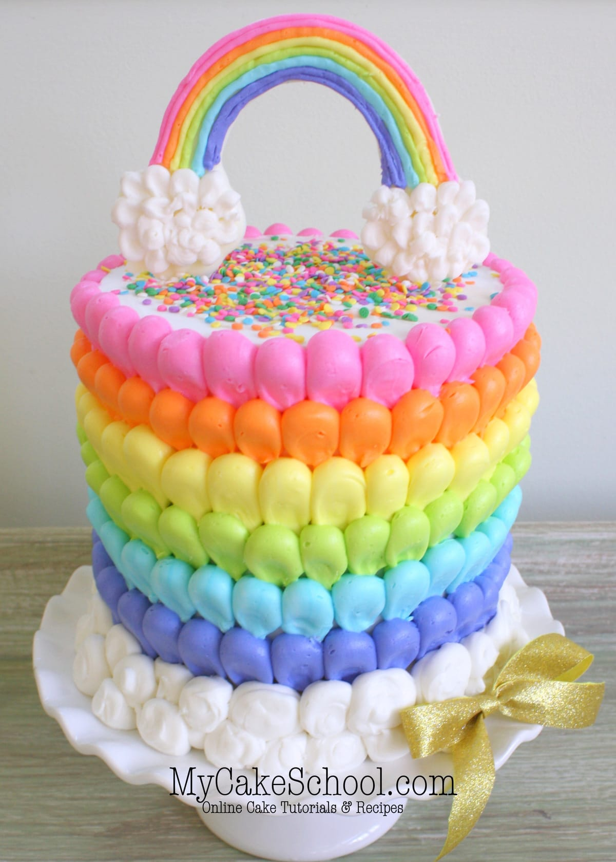 One Tier Rainbow Themed Cake Designs