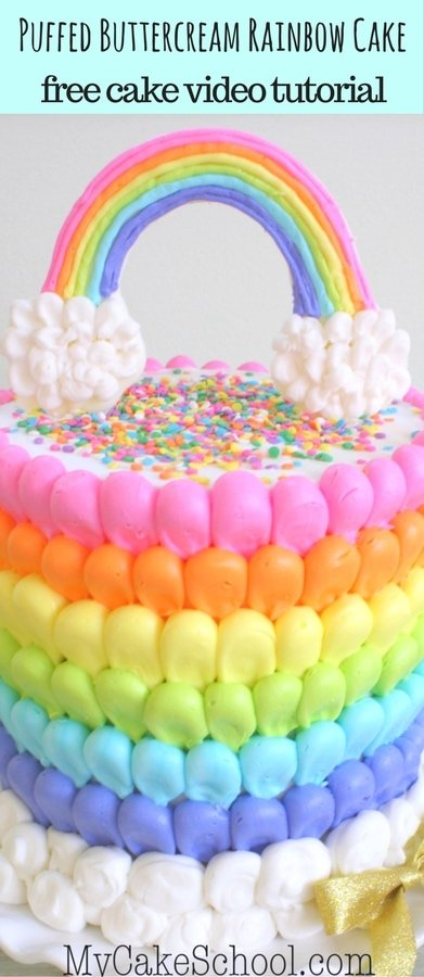 Cheerful Puffed Buttercream Rainbow Cake Video Tutorial by MyCakeSchool.com- Free Video!