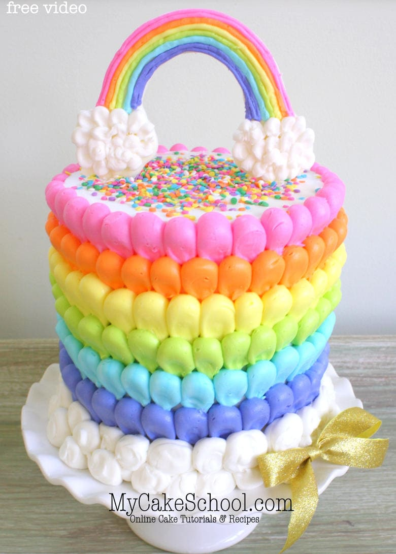 Beautiful Puffed Buttercream Rainbow Cake Tutorial by MyCakeSchool.com! This free cake video tutorial is perfect for all skill levels of cake decorating! MyCakeSchool.com online cake tutorials, recipes, videos, and more!