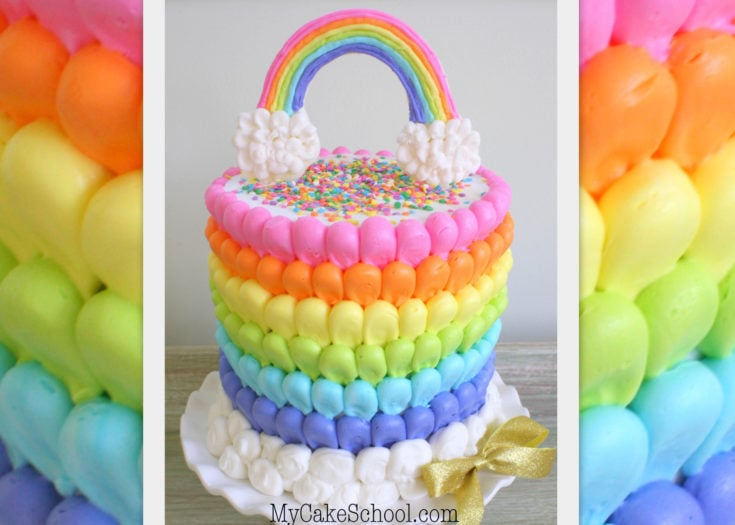 Puffed Rainbow Cake- {free} Cake Decorating Video!