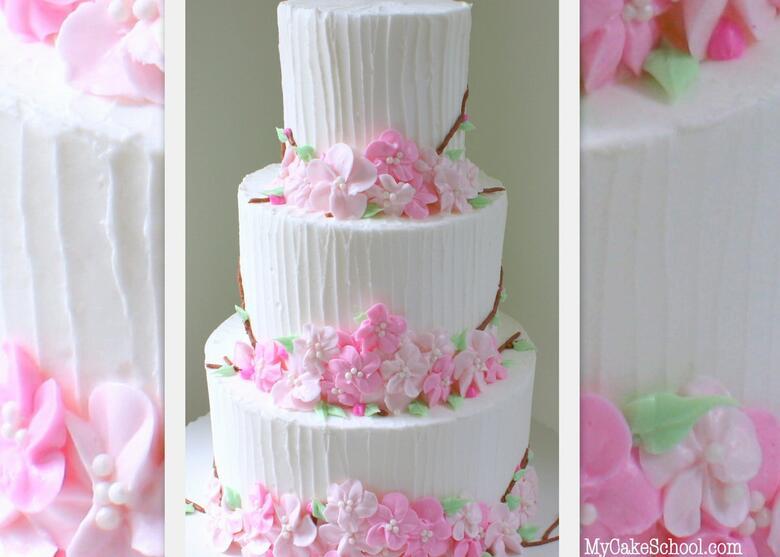 Beautiful Buttercream Cherry Blossoms Cake Decorating Video Tutorial by MyCakeSchool.com! Online Cake Classes & Recipes.