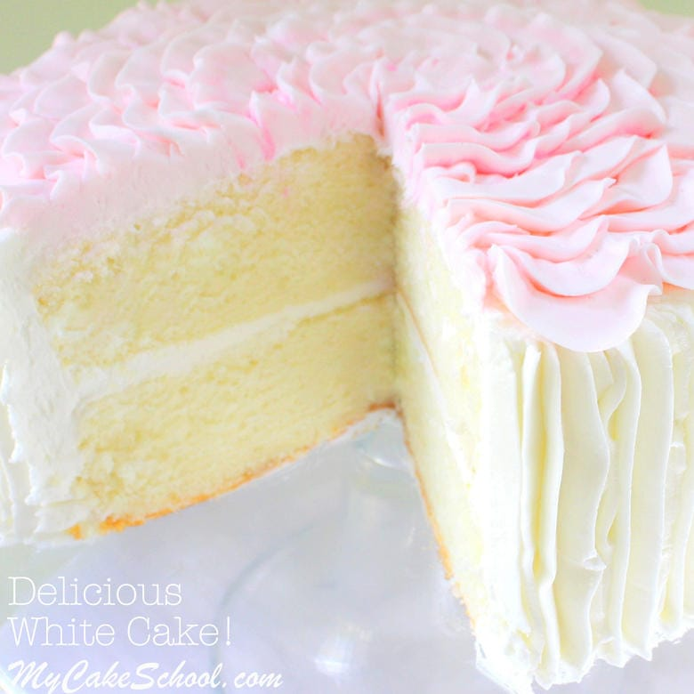 Delicious White Cake from Scratch! Recipe by MyCakeSchool.com.