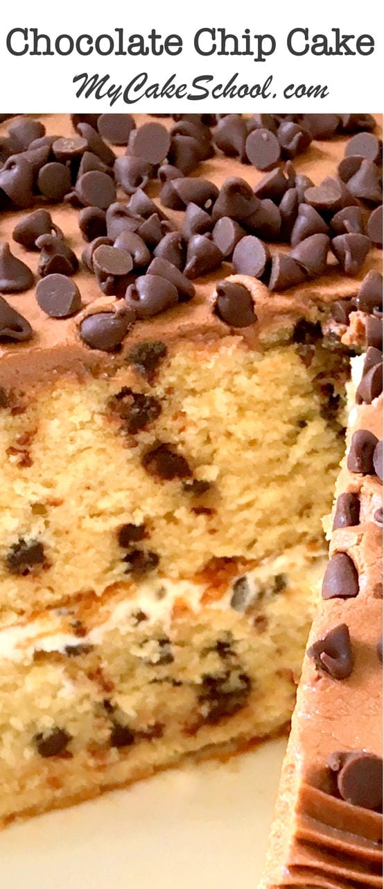 This fabulous scratch Chocolate Chip Cake Recipe has all of the wonderful flavors of a Chocolate Chip Cookie! Recipe by MyCakeSchool.com. Online Cake Decorating Tutorials & Recipes!