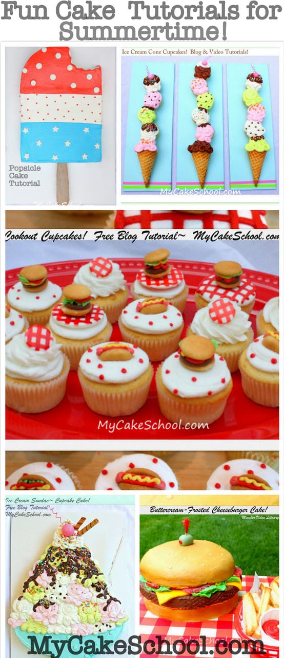 Cookout and Picnic Cake and Cupcake Tutorials by MyCakeSchool.com. Perfect for Summertime!