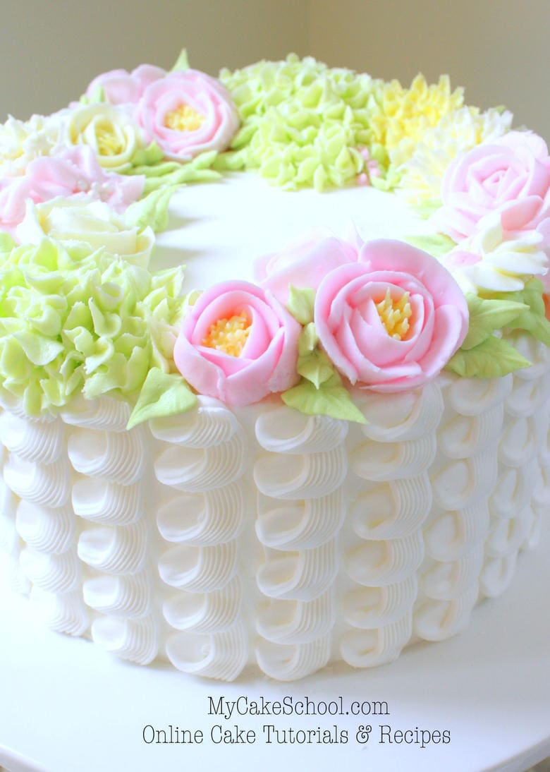 Learn to Pipe a Buttercream Floral Wreath! Cake Video My ...