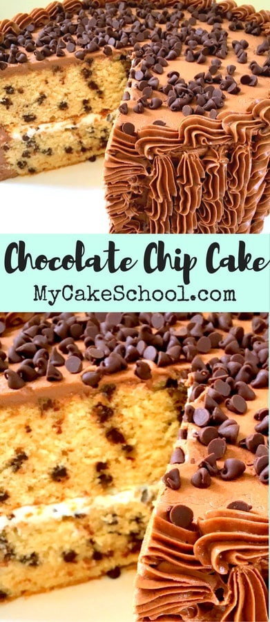 Delicious Homemade Chocolate Chip Cake Recipe by MyCakeSchool.com. So moist and flavorful!