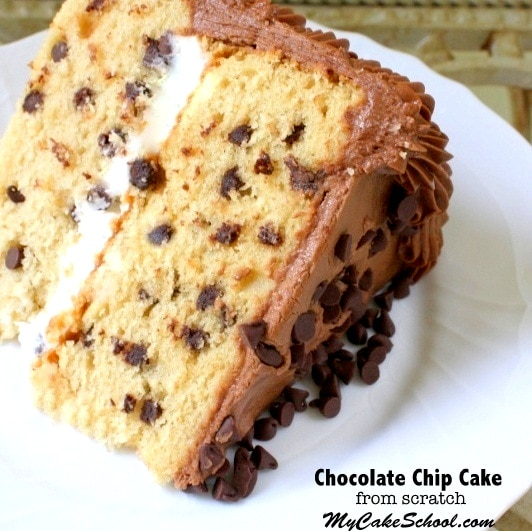 The BEST Chocolate Chip Cake Recipe from Scratch by MyCakeSchool.com! You will love the brown sugar flavor in this Cookie-Inspired Cake! YUM.