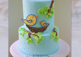SWEET Bird Themed Cake with Chocolate Transfers. Cake Decorating Tutorial by MyCakeSchool.com
