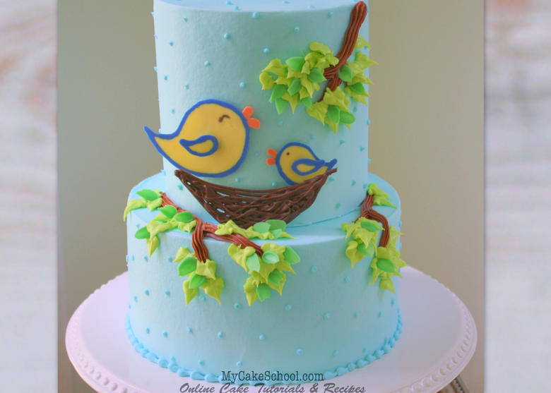 Sweet Bird Themed Baby Shower Cake with Chocolate Transfers! Video