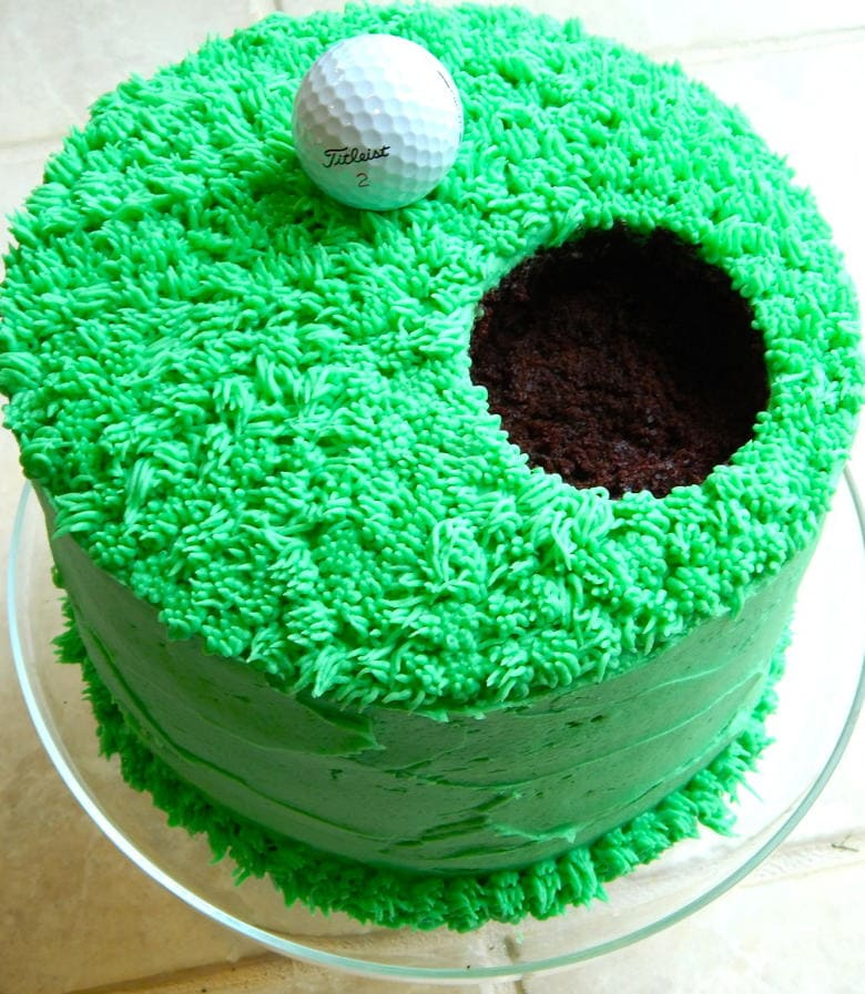 Easy and Adorable Golf Cake Tutorial by The Dessert Chronicles as featured on MyCakeSchool.com's Father's Day Cake Roundup!