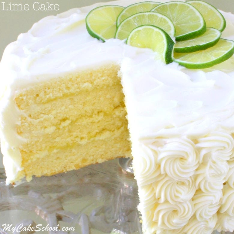 Moist and Delicious Lime Cake From Scratch with Lime Curd and Cream Cheese Frosting! Recipe by MyCakeSchool.com. Cake recipes, online cake tutorials, videos, and more!
