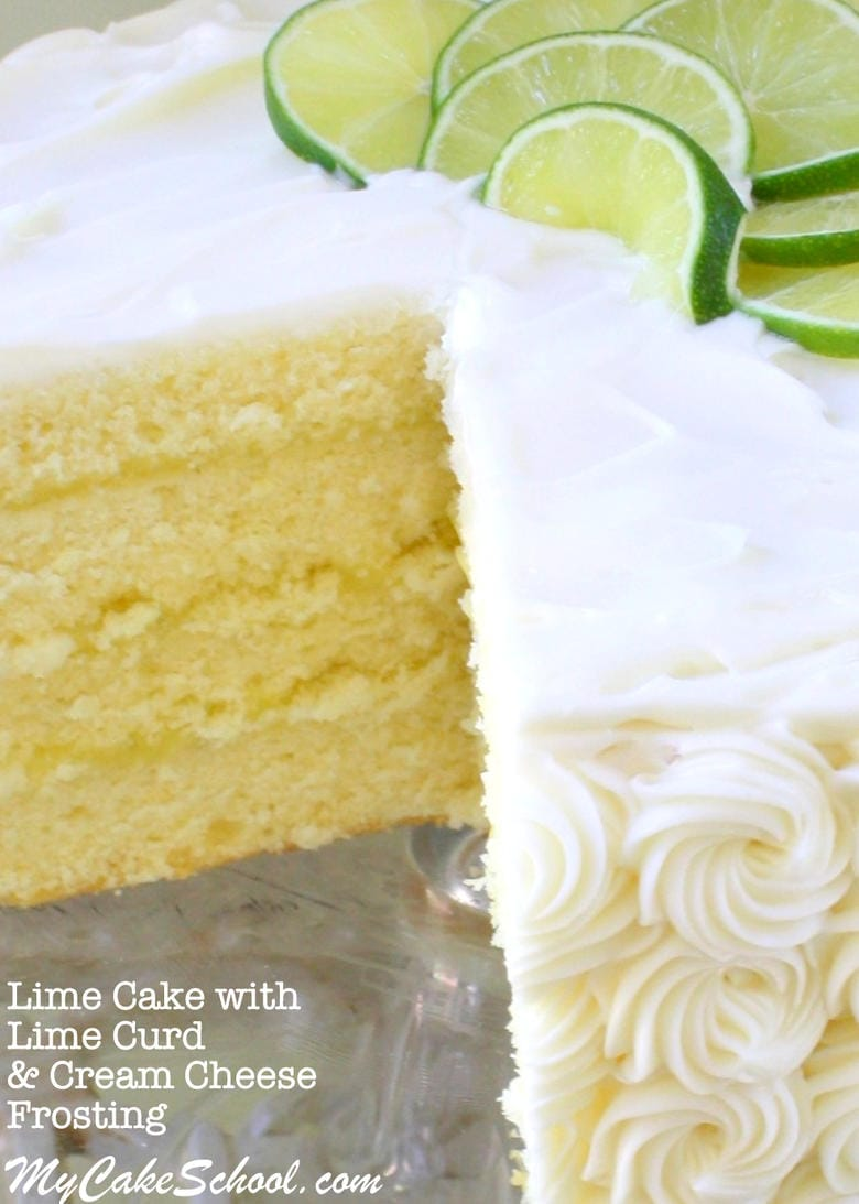 The BEST Lime Cake Recipe from scratch with Lime Curd and Cream Cheese Frosting! Cake recipe by MyCakeSchool.com. Online cake tutorials, recipes, cake videos, and more.