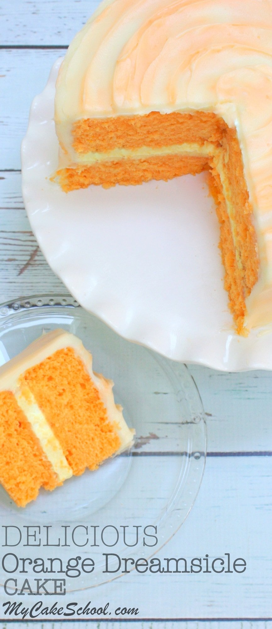 AMAZING Orange Dreamsicle Cake Recipe by MyCakeSchool.com! Moist homemade Orange Cake Layers filled with Orange Cream and Frosted with Orange Cream Cheese Frosting! YUM!