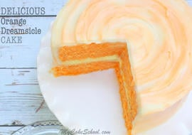 Amazing Orange Dreamsicle Cake Recipe from Scratch! So moist and delicious! MyCakeSchool.com Online Cake Tutorials, Recipes, Videos, and More!
