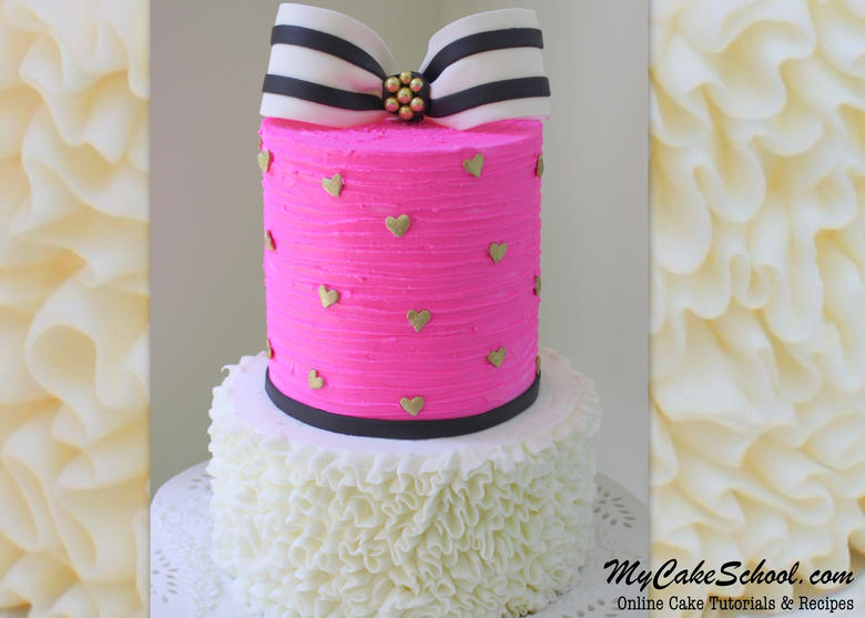 Gorgeous Striped Bow & Ruffled Buttercream Cake Video Tutorial by MyCakeSchool.com! Online Cake Decorating Classes & Recipes!