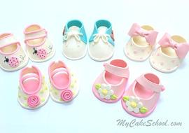 Cake Topper Tutorial for Cute Gum Paste Baby Shoes! MyCakeSchool.com Cake Decorating Video Tutorial.