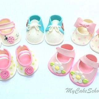 Cake Topper Tutorial for Cute Gum Paste Baby Shoes! MyCakeSchool.com Cake Decorating Video Tutorial.