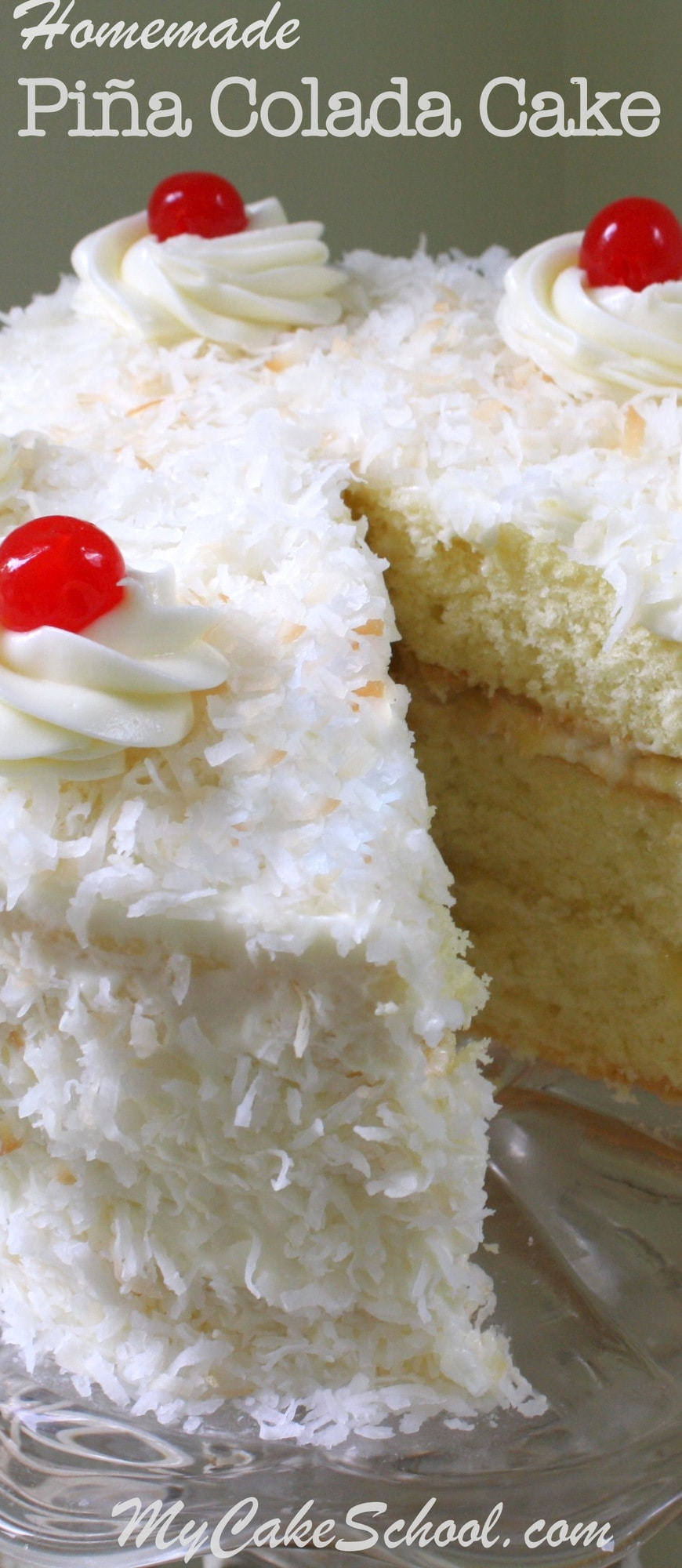 This AMAZING homemade Piña Colada Cake recipe is perfect for summer gatherings! Moist coconut cake layers with crushed pineapple filling, a hint of rum, and a flavorful Piña Colada Cream Cheese Frosting! MyCakeSchool.com.
