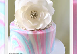 Beautiful Marbled Fondant Cake with Elegant Wafer Paper Flower! Cake Decorating Video Tutorial by MyCakeSchool.com.