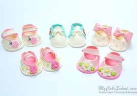 Adorable Gum Paste Baby Shoes Tutorial by My Cake School! Online Cake Tutorials, Videos, Recipes, and more!