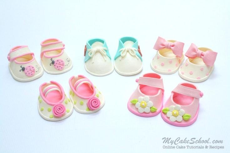 CUTE Gum Paste Baby Shoes Video Tutorial