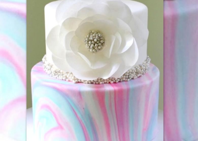 Marbled Fondant with Wafer Paper Flower