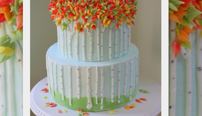 Autumn Birch Trees- A Buttercream Cake Tutorial
