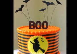 Spooky Halloween Witch Silhouette Cake! Video Tutorial by MyCakeSchool.com. Online Cake Tutorials & Recipes!