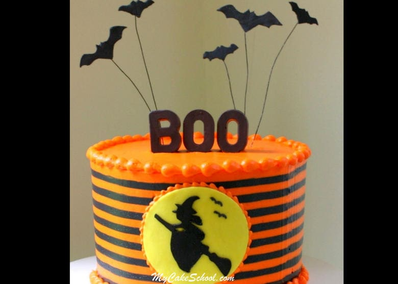 Witch Silhouette Cake- A Halloween Cake Video