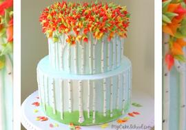 Autumn Birch Tree Cake
