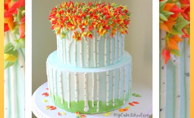 Autumn Birch Tree Cake