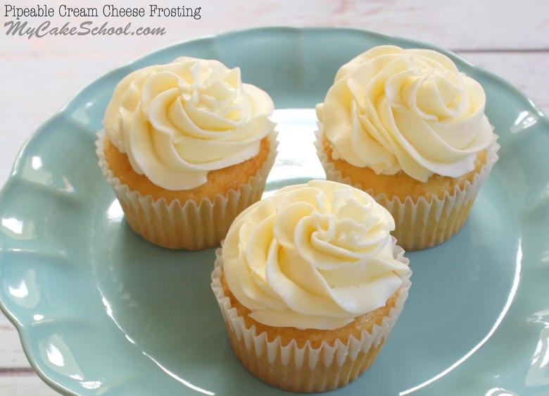 Yum! Pipeable Cream Cheese Frosting Recipe by My Cake School!