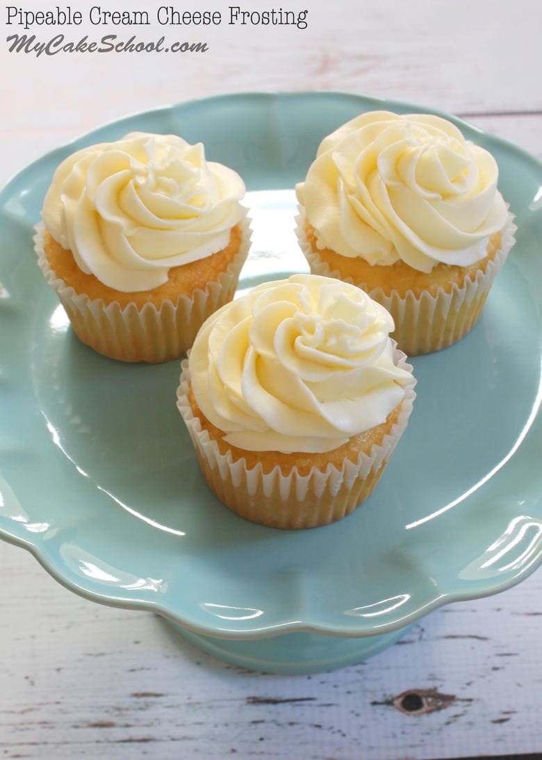 A fabulous Cream Cheese Frosting recipe that is delicious and pipes beautifully! MyCakeSchool.com