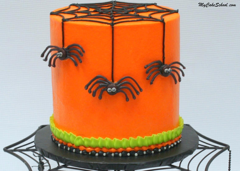 The Perfect Halloween Party Cake! In this free cake video, learn to create fun & creepy Chocolate Spiders! Tutorial by MyCakeSchool.com.