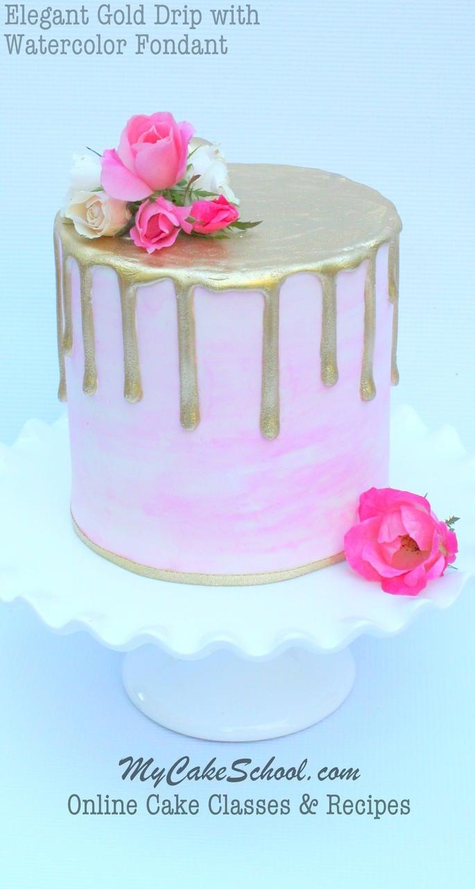 Gold Drip On Watercolor Fondant Video Tutorial My Cake